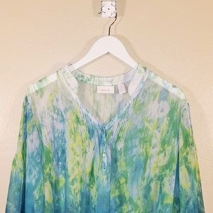 Chico's Blouse Watercolor Print Size 3